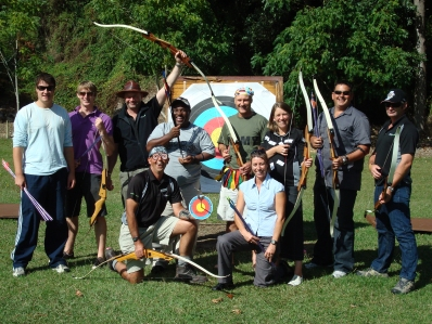 Team building group enjoying their Archery Experience
