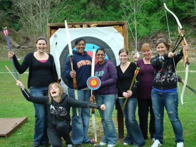 Hen Party enjoying their Archery Experience
